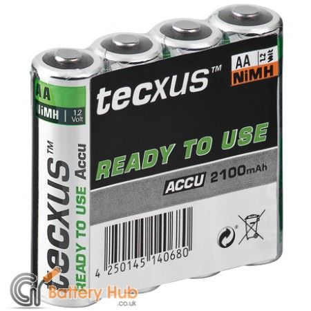 tecxus RTU (AA) Rechargeable Battery 4 Pack - 2100 mAh